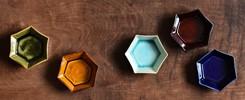 色変わり六角小皿