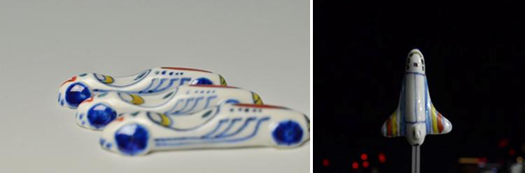 レーシングカーと、スペースシャトルの箸置き