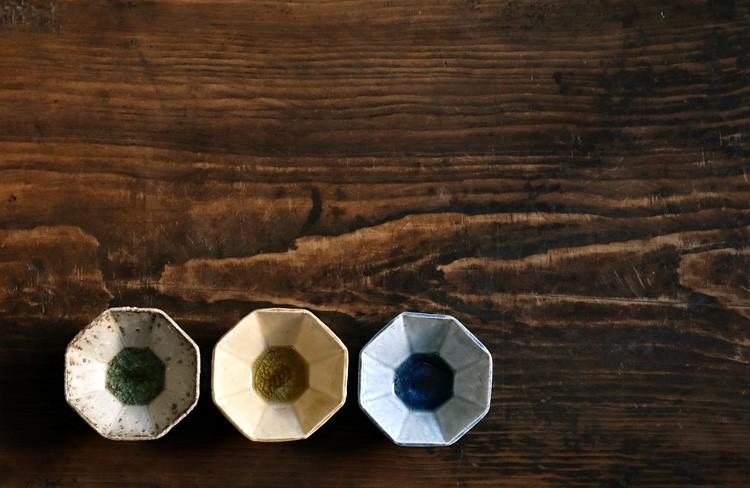 灰釉八角豆鉢