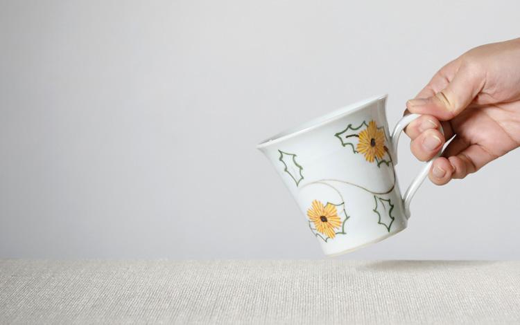 細マグカップ 黄たんぽぽ