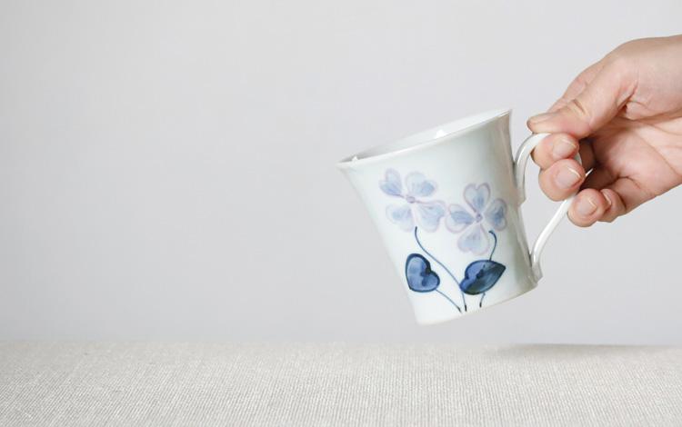 細マグカップ 紫パンジー