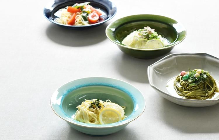 トルコ釉リム鉢(深大)
