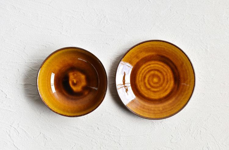 黄アメ釉シチューボウル(皿付)