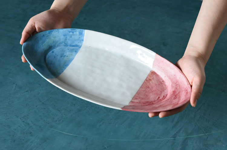トリコロール楕円平皿(大)8