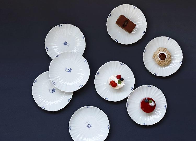 子と市松 輪花5寸皿