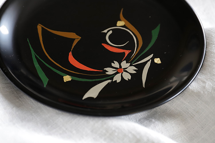 6寸絵皿花と織物