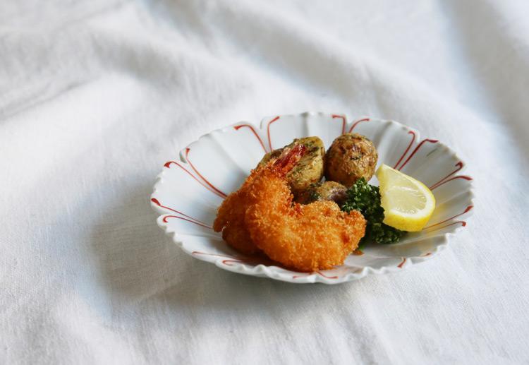 赤絵コスモス皿