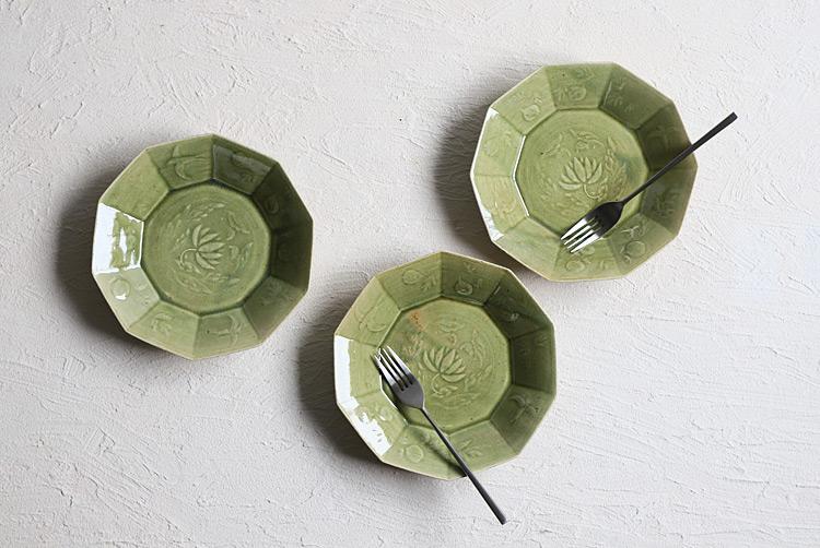 緑釉十角鉢(大)