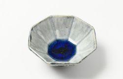 藍釉八角豆鉢