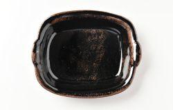 艶黒角グラタン皿