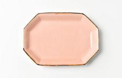 ピンク八角長方皿
