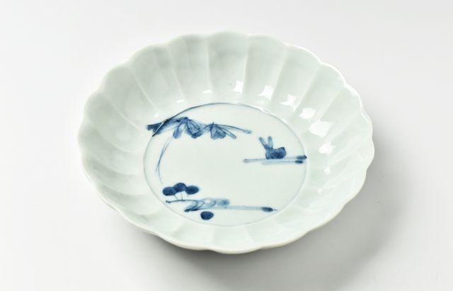 藤塚光男 流水兎輪花5.5寸鉢