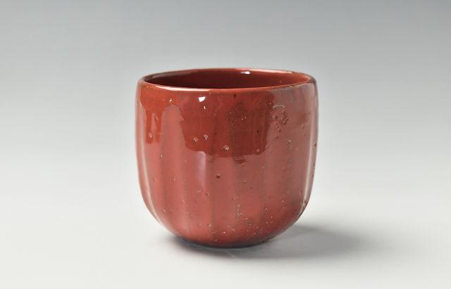 赤釉鎬湯呑