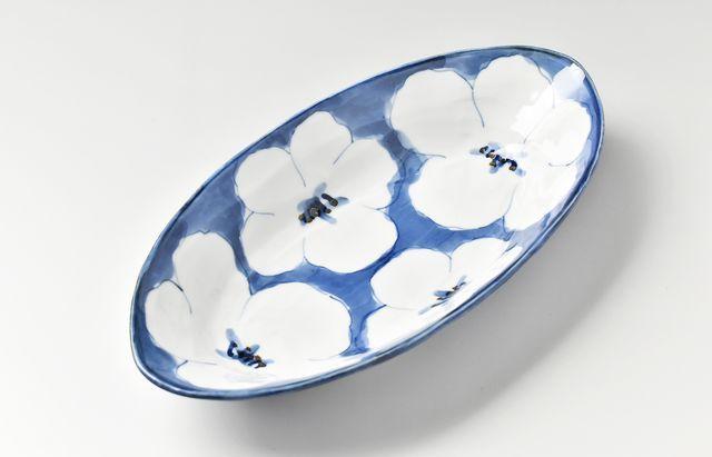 花文楕円深鉢
