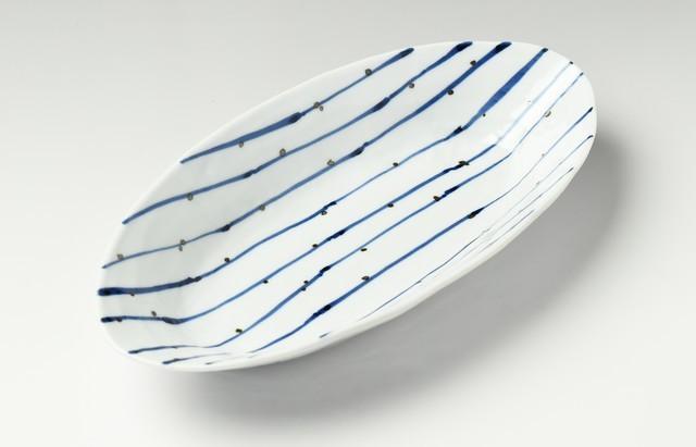 線に点文楕円大鉢