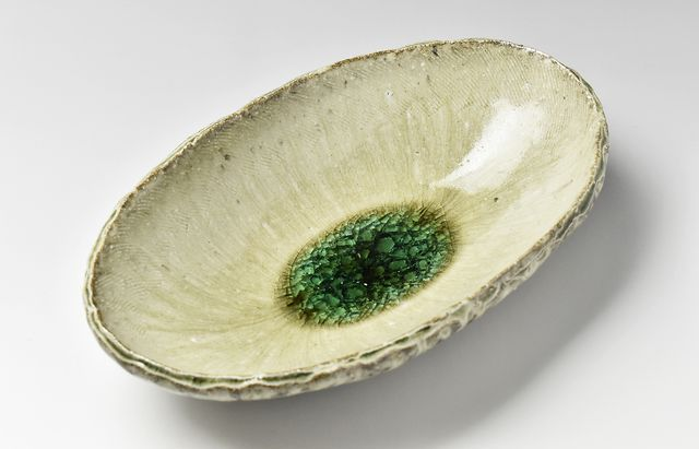 灰釉楕円鉢