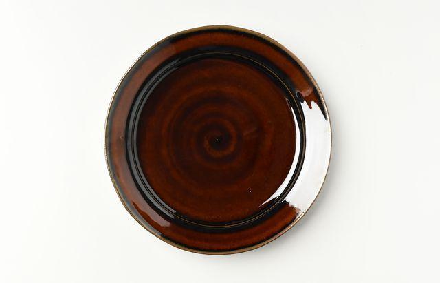 茶アメ釉カレー皿
