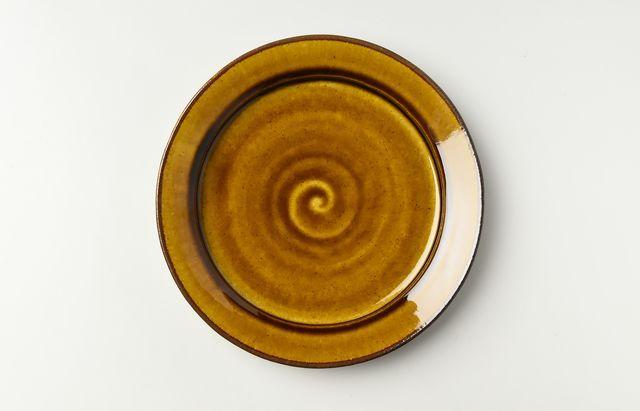 黄アメ釉カレー皿